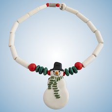 Vintage Ruby Z Ceramic Winter Snowman Pendant Necklace By Candace Loheed