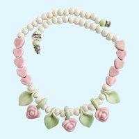 Vintage Flying Colors Ceramic Pink Rose Flower Necklace