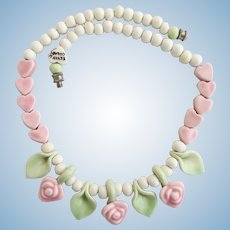 Vintage Flying Colors Ceramic Pink Rose Flower Necklace
