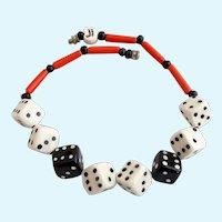 Vintage Parrot Pearls Ceramic Dice Choker Necklace