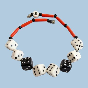 Vintage Parrot Pearls Ceramic Dice Choker Necklace