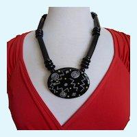 Vintage Ruby Z  Black Design Ceramic Necklace By Candace Loheed