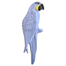 Vintage Ruby Z Ceramic Blue Parrot Brooch.