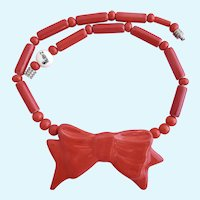 Vintage Ruby Z Ceramic Red Bow Necklace By Candace Loheed