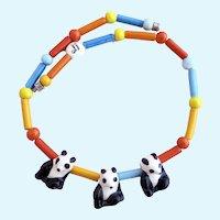 Vintage Parrot Pearls Ceramic Pandas Necklace