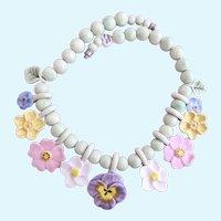 Vintage Flying Colors Ceramic Pastel Flowers Necklace