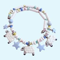 Vintage Ruby Z Ceramic Counting Sheep Dream Time Necklace