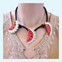 Vintage Flying Colors Ceramic Watermelon Necklace with Cloth Chain