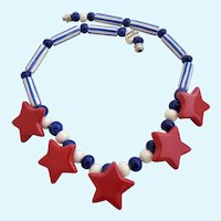Vintage Flying Colors Patriotic Stars and Stripes Ceramic Necklace