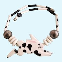 Vintage Ruby Z Black and White Bunny Rabbit Ceramic Necklace by Candace Loheed