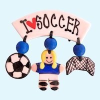Vintage Artisan Ceramic I Love Soccer Dangle Pin