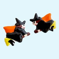 Vintage Flying Colors Ceramic Halloween Witches Pierced Earrings