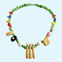 Vintage Flying Colors Ceramic Baseball Theme Necklace