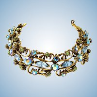 Florenza Blue Rhinestone and Antiqued Gold Tone Bracelet