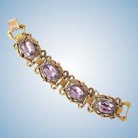 Vintage Florenza Lavender Large Crystal Bracelet