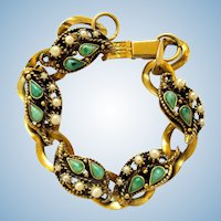 Vintage Gold Tone Looped Link Bracelet with Green Stones and Faux Pearls