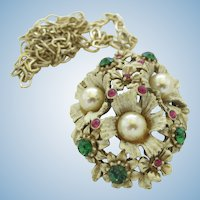 Florenza Flower Pendant in French White Enamel