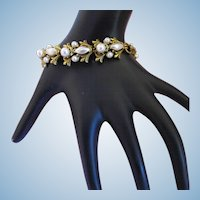 Vintage Florenza Gold Tone Faux Pearl Bracelet