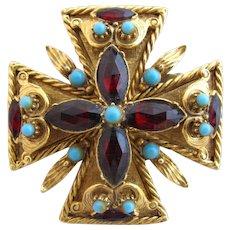 Vintage Florenza Maltese Cross Brooch / Pin