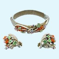 Vintage Florenza French White Enamel Bangle Clamper Bracelet and Earring Set