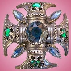 Vintage Florenza Maltese Cross Pin / Pendant