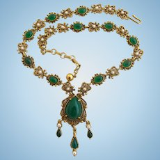 Vintage Florenza Green Cabochon Dangle Necklace