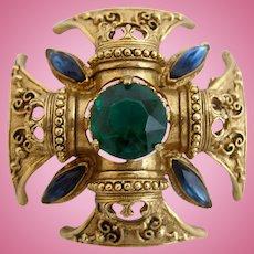 Vintage Florenza Maltese Cross Brooch