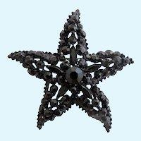 Vintage Florenza Jet Black Starfish Pin