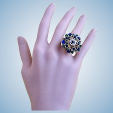 Vintage Forenza Rhinestone Adjustable Ring - Mint Condition