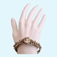Vintage Florenza French White Enamel Hinged Bracelet with Romance Transfer Scene