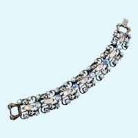 Vintage Florenza Opalescent Rhinestone Link Bracelet