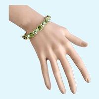 Vintage Florenza Spring Green Flower Hinged Bangle Bracelet