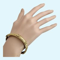 Vintage Freirich Gold Tone Victorian Revival Etched Hinged Bangle Bracelet