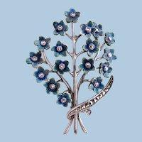 Vintage 1940's Era Sterling Silver Marcasite German Floral Bouquet Brooch