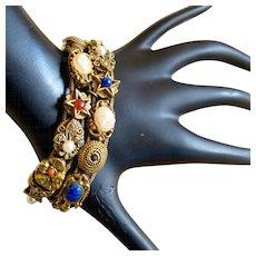 Unsigned Goldette Double Slide Bracelet - Book Piece