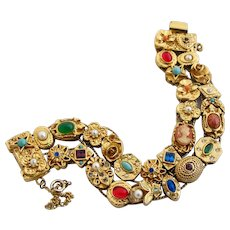Vintage Goldette Double Slide Charm Bracelet - Book Piece