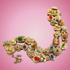 Vintage Goldette Double Slide Charm Bracelet - Book Piece