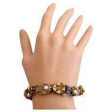 Vintage Signed Goldette Charms Slide Bracelet