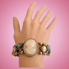 Vintage Victorian Revival Double Slide Cameo Charm Bracelet