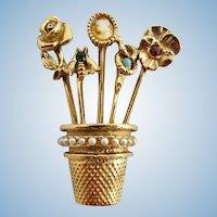 Vintage Goldette Charm Thimble Pin