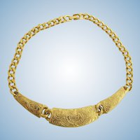 Vintage Goldette N.Y. Stamped Gold Tone Choker Necklace - Rare