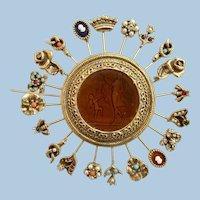 Vintage Goldette Reverse Intaglio Charm Wheel Brooch - Rare