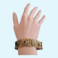 Vintage Goldette N.Y. Gold Tone Filigree Link Charm Bracelet