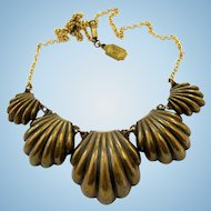 Vintage Pididdly Links Brassy Shells Choker Necklace