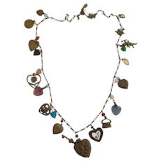 Vintage Glass Works Studio Heart and Charm Necklace