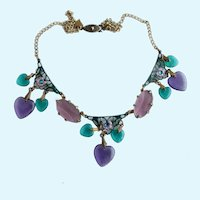 Vintage Glass Works Studio Victorian Style Heart Charm Necklace