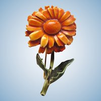Vintage HAR Orange Flower Pin