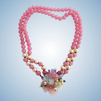 Vintage Haskell Wedding Perfect Style Pink Glass Beads and Pressed Glass Flower and Leaf Choker Necklace