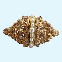 Vintage Miriam Haskell Ornate Gold Plated Metal and Baroque Faux Pearl Pin