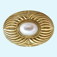 Vintage Miriam Haskell Oval Gold Tone Faux Pearl Brooch
